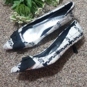 White House Black Market Kitten tweed heels